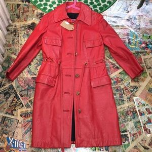 RED 100% LEATHER TRENCH